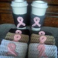 Coffee Travel Mug Sleeves- Breast Cancer Awareness- Choose Set # and Colors