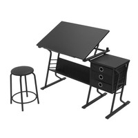 Eclipse Angled Desk Center with Stool (Black / Black) (30-39.5H x 50.00W x 23.75D)