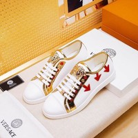 Versace White Red Gold Sneakers - Best Deal Online