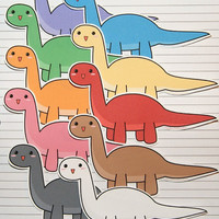 Chibi Brachiosaurus Stickers and Magnets