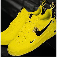 Nike Air Force 1 Classic Hot Sale Women Men Leisure Flat Sport Running Shoes Sneakers Yellow