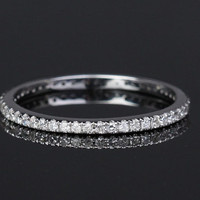 Full Eternity Band Diamond Ring Solid 14K White Gold Wedding Ring/ Engagement Ring/ Wedding Band