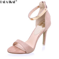 2016 Concise Nude Suede High Heels Sandals Women Sequined Ankle Strap Summer Dress Shoes Woman Open Toe Sandals XWF0648-5