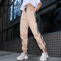 Sweetown Plus Size Pantalon Large Femme Harajuku Harem Pants Women Streetwear Khaki Striped High Waist Trousers Women Sweatpants