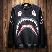 Bape Aape Autumn And Winter New Fashion Shark Print Women Men Long Sleeve Top Sweater Black