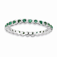 Sterling Silver Stackable Expressions Simulated Emerald Ring: RingSize: 7