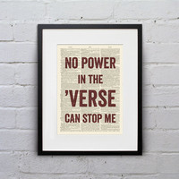 No Power In The 'Verse Can Stop Me - Quote Firefly Browncoat Serenity Dictionary Page Book Art Print - DPQU158