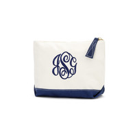 Navy Canvas Cosmetic Monogrammed Bag