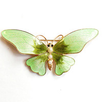 Vintage Guilloche Enamel Butterfly Brooch - Pastel Green - Faux Pearl - Gold Tone Metal - Insect Bug - Broach Pin - Wedding Bridal  - Spring
