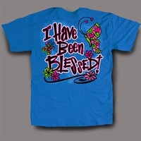 Sweet Thing Funny I Have Been Blessed Blue Girly Bright T-Shirt
