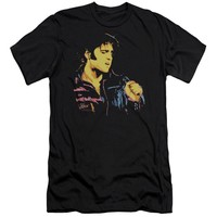 Elvis Presley Premium Canvas T-Shirt Neon Portrait Black Tee