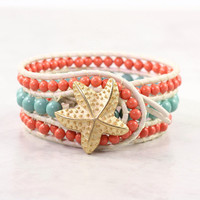 Leather Cuff Bracelet Bohemian Style Wrap Bracelet White Coral Jade Green Boho Jewelry Made To Order Custom Starfish Beach Fashion