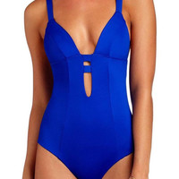 Blue Caged Open Back One Piece Swimsuit