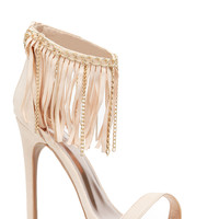Nude Faux Suede Fringe Ankle Strapped Single Sole Heels