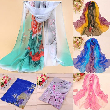 Lady's Bird and Flower Printed Flower Soft Silk Chiffon Neck Scarf Wrap Stole = 1945977348