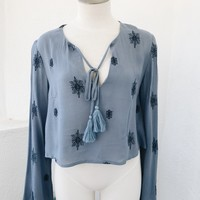 BAHAR BOHO TOP- BLUE