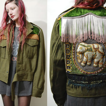 Vintage ELEPHANT Jacket MILITARY Khaki Wool Fringe Sequin Patch Patched Embroidered Handmade ooak Grunge Hippie Boho Bohemian Gypsy M