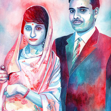 Special gift for INDIAN south ASIAN HINDU parents grandparents 25th 50th wedding anniversary - Custom portrait couple painting watercolor