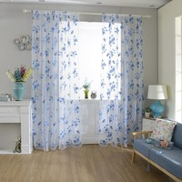 Delicate Flower Window Tulle Curtain Sheer Drape Divider Home Bedroom Decor