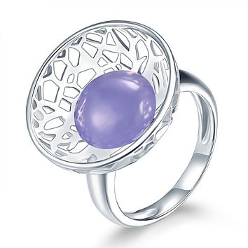 Natural Purple Chalcedony Solid 925 Sterling Silver Ring