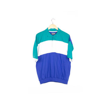 80s MEMBERS ONLY fresh polo shirt / vintage 1980s / colorblock / teal white blue / short sleeve / retro / preppy / soft / large