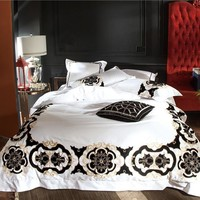 Cool 100S Egyptian Cotton White Black Embroidery Luxury Royal Bedding set Queen King size 4/6PcsDuvet cover Bed sheet linen setAT_93_12