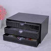 3-layer 3-drawer wood struction leather desk filing cabinet storage box office organizer document container croco black217C