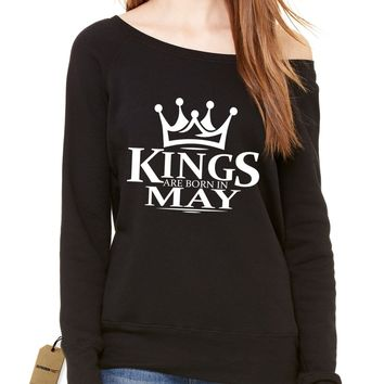 Kings Are Born In May Slouchy Off Shoulder Oversized Sweatshirt