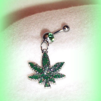 Hemp Leaf Green Belly Ring, Trending Belly Ring, Marijuana, Weed, Mary Jane, 420, Refer, Green