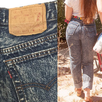 RARE 80s Acid Wash High Waisted Levis Jeans | Womens Medium Skinny Jeans Size 27 Mom Jeans | Indie Stone Wash 90s Grunge Levis 501 80s Denim