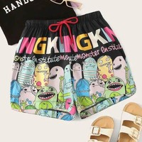 Plus Size Size Letter And Cartoon Print Drawstring Waist Shorts