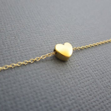 Gold Heart Necklace, heart charm necklace, Heart necklace, Wedding, Bridesmaid gifts.