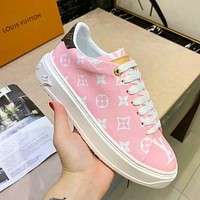 Louis Vuitton LV Sneakers PU Print Contrast Shoes monogram tail Pink