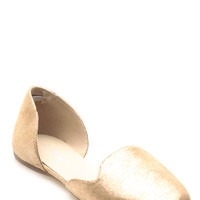 Gold Shimmer Faux Leather Flats