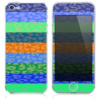 The Inverted Striped Cheetah Neon Print Skin for the iPhone 3, 4-4s, 5-5s or 5c