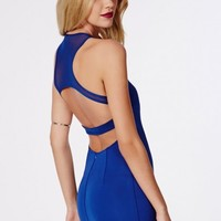 Missguided - Melanie Mesh Back Dress Cobalt Blue