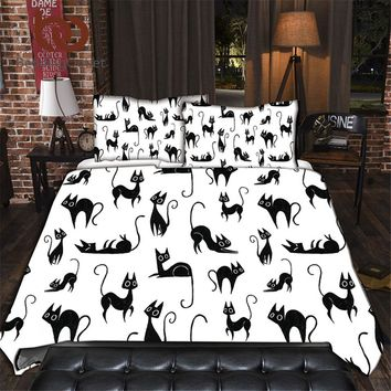 Cartoon Bedding Set for Kids Single Bed Set Cute Cats Print Duvet Cover Black and White