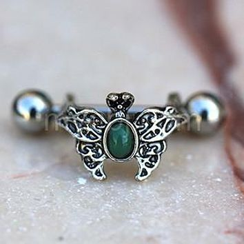 316L Stainless Steel Ornate Green Butterfly Cartilage Cuff Earring