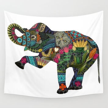 asian elephant white Wall Tapestry by Sharon Turner