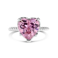 Rhodium Plated Pink Crystal Solitaire Heart Ring Baby Girls Kids