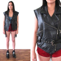 Vintage 80s LEATHER Motorcycle Black Sleevelesss Biker Vest Moto Jacket // Hipster Grunge Hippie Gypsy // XS / Small / Medium / Large