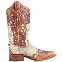 Shop Women's Corral Sand & Cognac Laser Overlay Cowgirl Boots