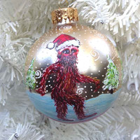 Sasquatch Christmas Ornament Hand Painted Bigfoot Creepy Tree Weird Holiday Decoration Ball Cryptozoology Unusual Snow Scene Funny Winter