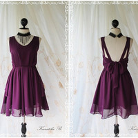 A Party Dress Eggplant Color V Neck And V Shape Strap Wedding Cocktail Bridesmaid Party Dinner Dancing Prom Dress
