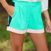 Chip Off The Color Block Shorts-Mint
