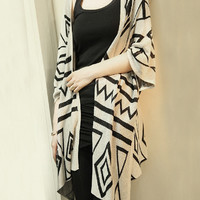 Loose Batwing Sleeve Geometric Knit Cardigan