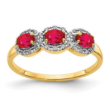 14K Yellow Gold Composite Ruby and Real Diamond 3-Stone Ring