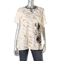 Alfred Dunner Womens Embellished Zebra Print Casual Top