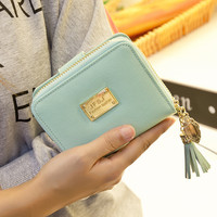 Leather Wallet Korean Sweets Zippers Purse [6581044359]