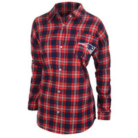New England Patriots Wordmark Long Sleeve Women's Flannel Shirt by Klew